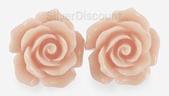 Пусеты с большими розовыми цветами, серебро