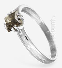 Женское кольцо, серебро и дымчатый кварц квадратной формы