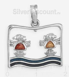 Два ангела на водной глади: подвеска, серебро, эмаль