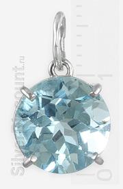 Кулон с топазом, серебро и натуральный камень
