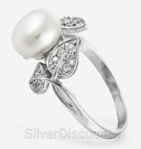 Кольцо из серебра с жемчугом и фианитами, вид сбоку