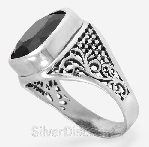 Объемное кольцо-перстень из серебра с агатом