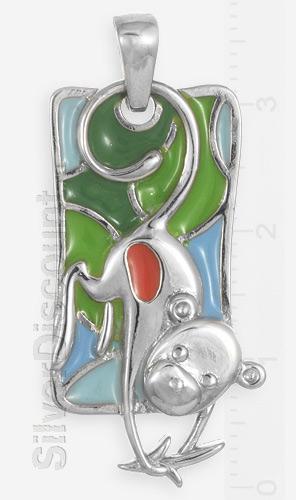 Серебряная обезьянка с бананом, подвес серебро эмаль