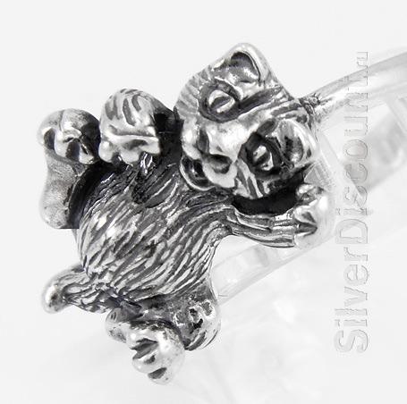 Кольцо с котенком, серебро 925 пробы