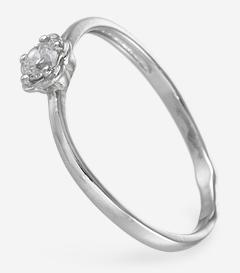 Изящно изогнутое кольцо с фианитом, вид сбоку