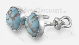Серебряные серьги-гвоздики с бирюзой