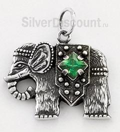 Кулон-слон с зеленым камнем (празиолит)