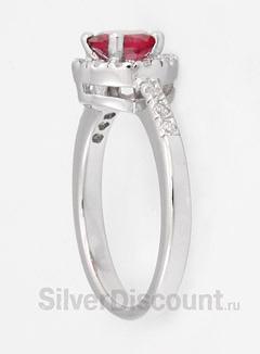 Женское кольцо с синтетическим рубином, серебро, родирование