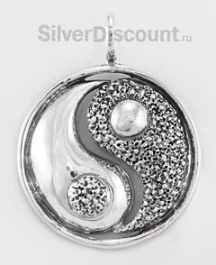Инь и Янь, кулон-медальон из серебра