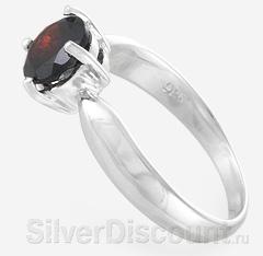 Серебряное кольцо крупным природным гранатом