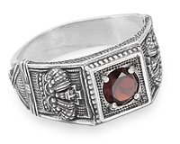 купить серебряное кольцо с гранатом