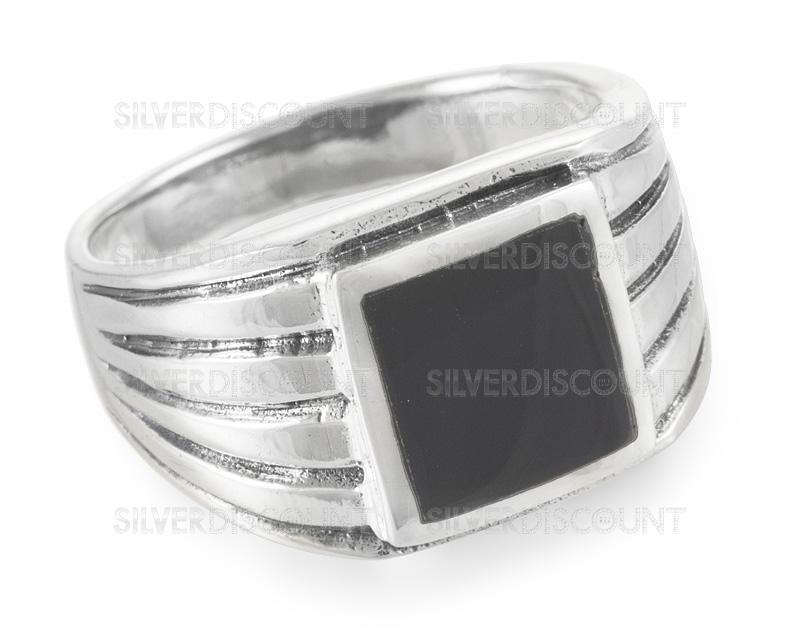 кольца из серебра с черным ониксом