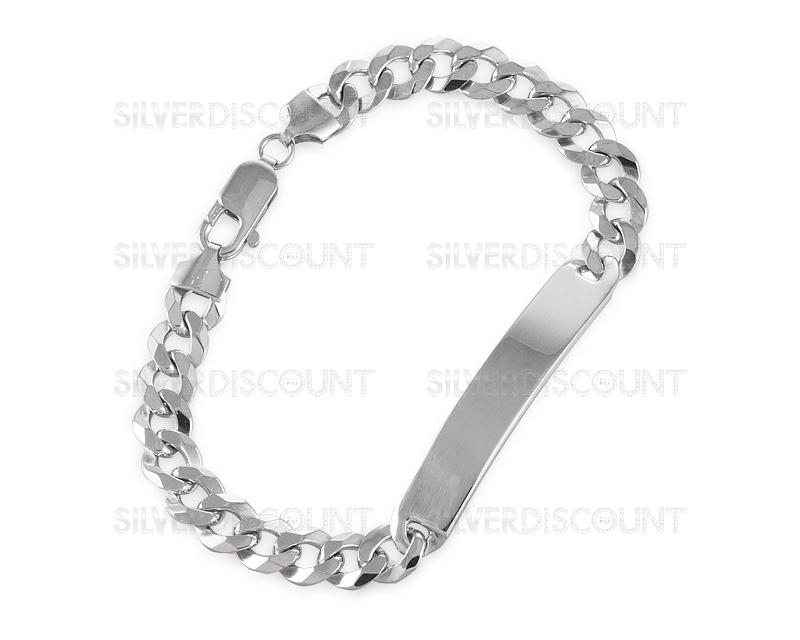мужской браслет под гравировку родированное серебро 08 см купить