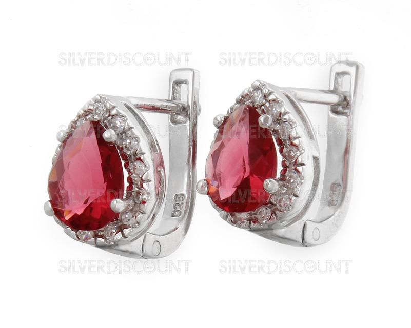 3c6b49fee1b7 Серьги с рубином из серебра 925-ой пробы купить на SilverDiscount.ru