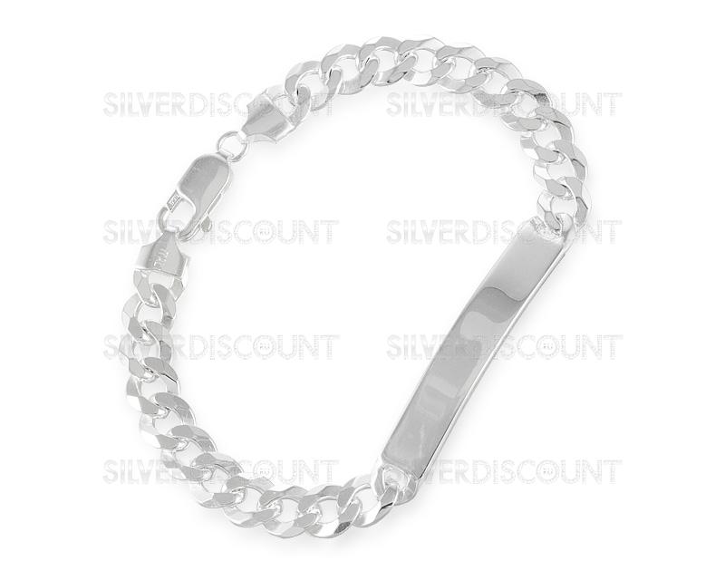 браслет из серебра с пластиной под гравировку 8мм купить на